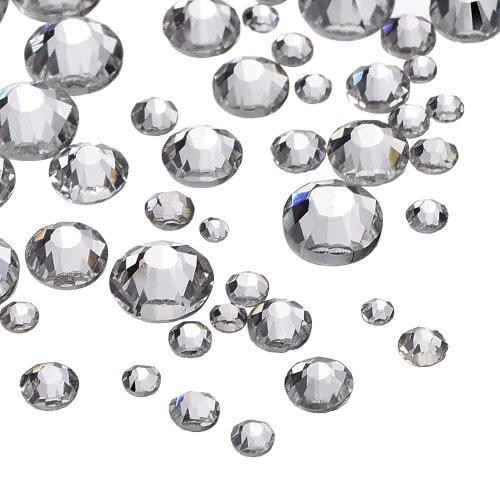 1000 Pieces Clear Flat Back Rhinestones Round Crystal Gems 1.5 mm - 5 mm 5 Sizes