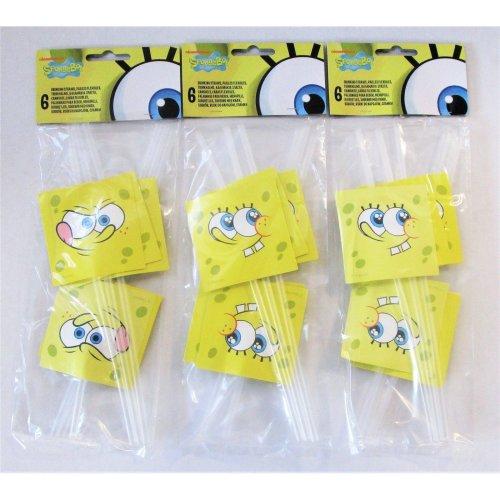 Pack Of 12 Spongebob Squarepants Surf Drinking Straws Party