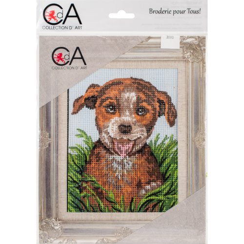 Collection D'art Stamped Needlepoint Kit 14X18cm-Puppy