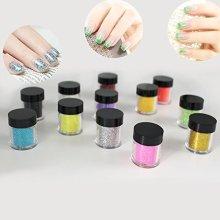 XICHEN 12 Rainbow Color Glitter Powder Dust Nail Art glitter powder Tips decoration Jumbo Size