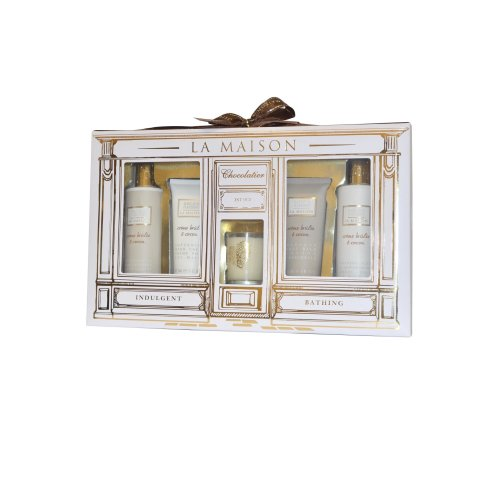 Baylis and Harding Creme Brulee Set- Candle, Shower Creme Cleanser, Hand Cream and Body Ba
