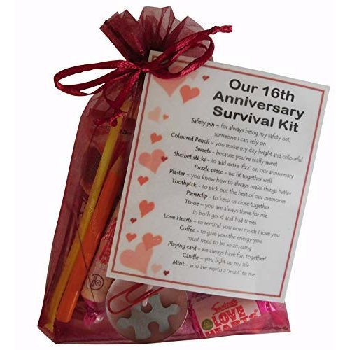 16th Anniversary Survival Kit Gift  - Great Novelty Present for Sixteenth Anniversary or Wedding Anniversary for Boyfriend, Girlfriend, Husband, Wife