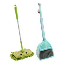 Children Housekeeping TOY Cleaning Play Set-Children Broom Dustpan Mop Suit, Green
