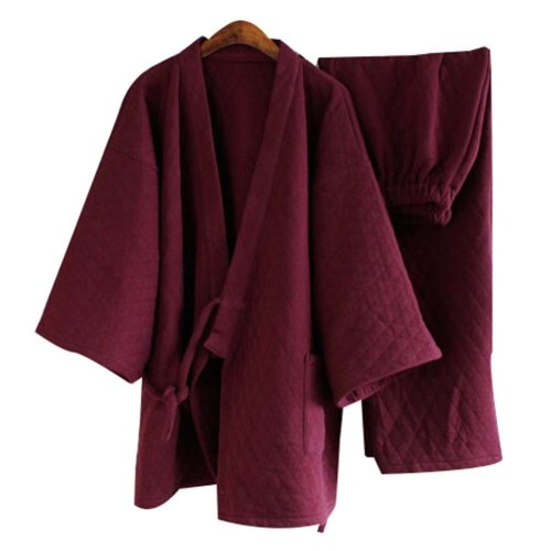 Tracksuit Bathrobe Breathable Cotton Pajamas Suit Men's Kimono Pajamas