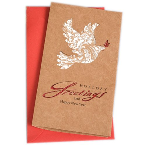 Christmas Cards Greeting Cards Christmas Gift Xmas Cards (4 Cards and Envelopes), Brown # 22