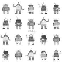 HD non-woven wallpaper drawn vintage toy robots black and white