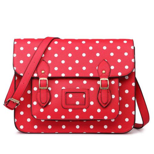Miss Lulu School Bag Cross Body Messenger Shoulder Satchel PU Leather Polka  Dots Red on OnBuy f4cd2b5bdc674