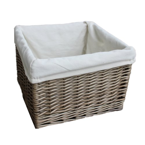 Small Square Antique Wash Wicker Lined Storage Basket