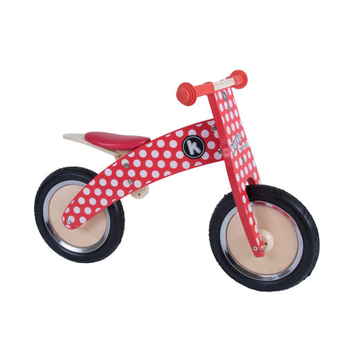 Kiddimoto Kids Kurve Wooden Balance Bike - Red Dotty Design