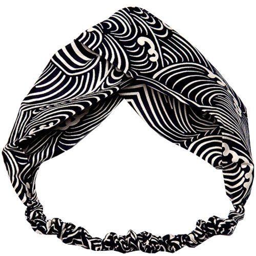 Adjustable Bow Japanese Styles Cross Hair Band Headband For Women, Black and White, #5