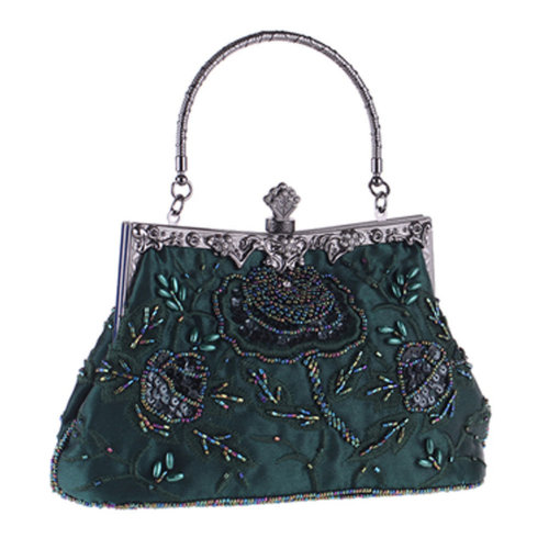 Women's Vintage Style Clutch Evening Bag Elegant Beaded Shoulder Bag Luxurious Handbag Purse,K