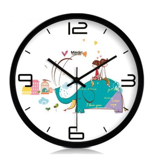 10-inch Silent fashion Art Pastoral Round Wall Clock,BLACK (NO.410)