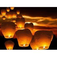 10pc Flying Paper Lantern Set   Chinese Sky Lanterns