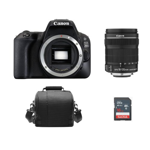CANON 200D Black + EF-S 18-135mm F3.5-5.6 IS STM +  Bag + 16GB SD card