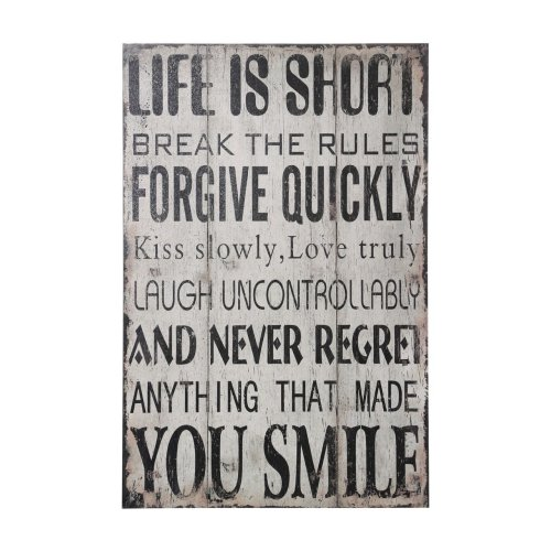 Life is Short Wall Plaque Distressed Design, MDF