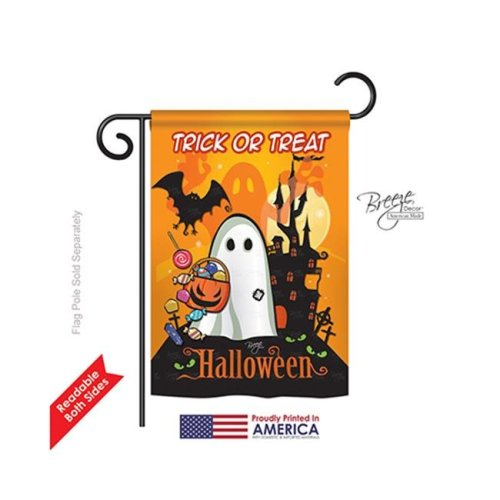 Breeze Decor 62051 Halloween Little Ghost 2-Sided Impression Garden Flag - 13 x 18.5 in.