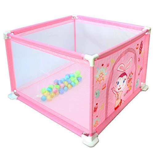 deAO Baby Ball Pit Safety Playpen Gate Set (Pink Square)