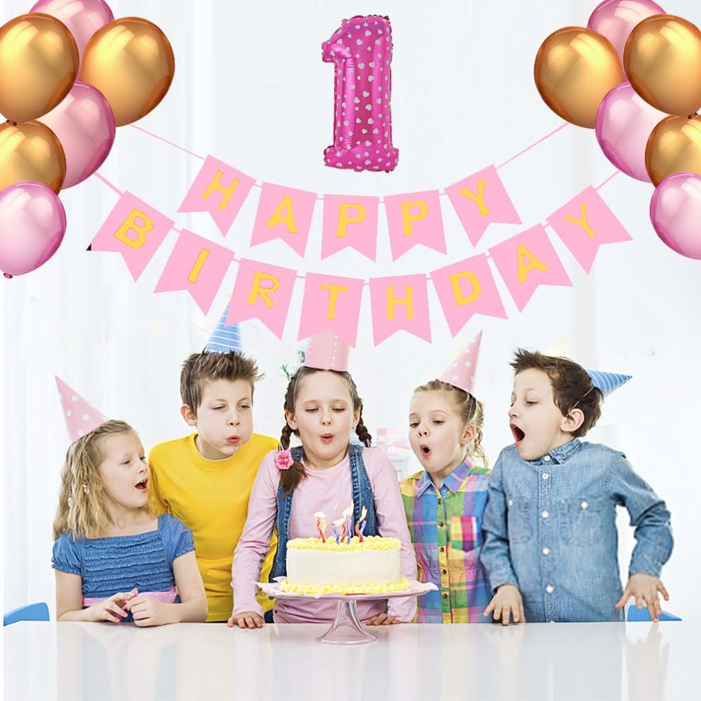 Pushingbest 1st Birthday Decoration Pink 1th Party Set With Garland 80cm Foil Balloons Ideal For 1 Year Old