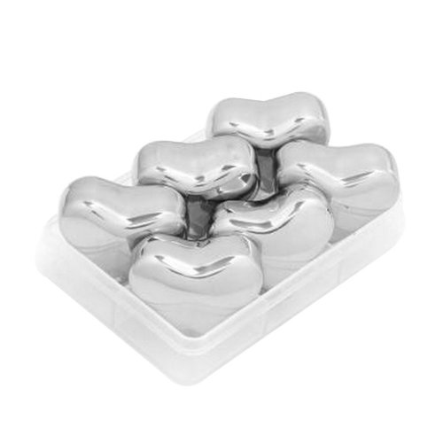 Set of 6 Stainless Steel Ice Cube Stainless Steel Reusable Ice Cubes [Heart]
