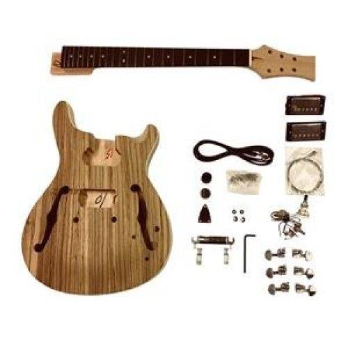 Semi-hollow guitar kits GDPRZS Set-in neck with Zebrawood veneer Top Electric Guitar DIY Kit