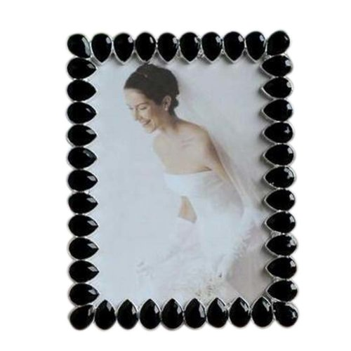 6-inch Photo Frame Drop Shape Metal Photoframe and Home Decoration, Black