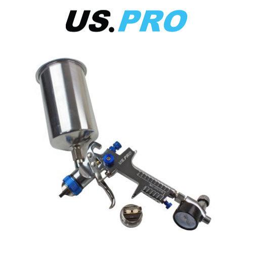 US PRO HVLP Spray Gun With Regulator 2 Nozzels 1.4 & 2.0mm 1000ml Cup