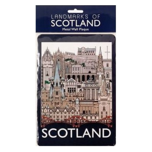 Scotland Landmarks Tin Metal Wall Signs Plaques Cityscape Collage Novelty Door Hanging Gift Home Office Souvenir