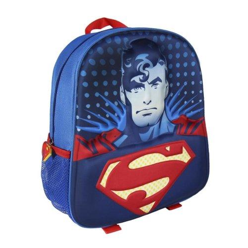Children Kids Superman 3D Effect Blue Junior Backpack