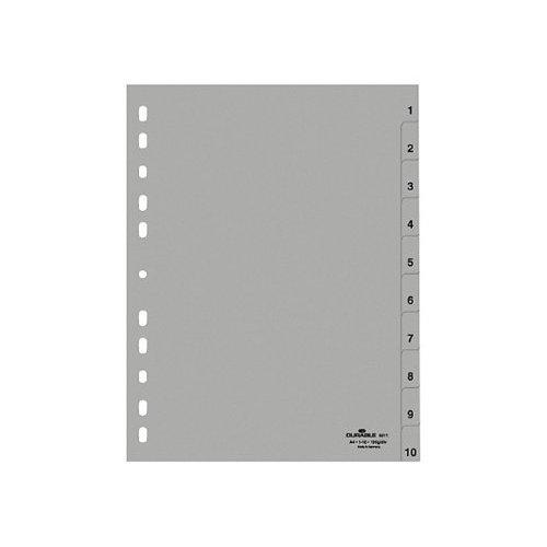 Durable 651110 Polypropylene (PP) Folder Index 1-10 A4 215/230 x 297 mm, 10 Sheets, Pack of 25, Grey