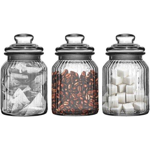 Set Of Three Storage Jars 990ml Ribbed Glass Tea Coffee Sugar
