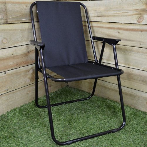 Black Folding Canvas Camping / Festival / Outdoor Chair with Plastic Arm Rests