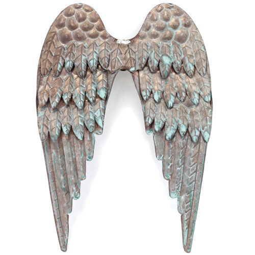 "Copper Patina Metal Angel Wings 8""X10""-"