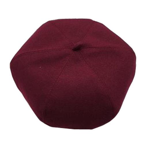 Ladies Cloth Beanie Hat Trendy Beret Winter Painter Cap Floppy Hat , Wine Red