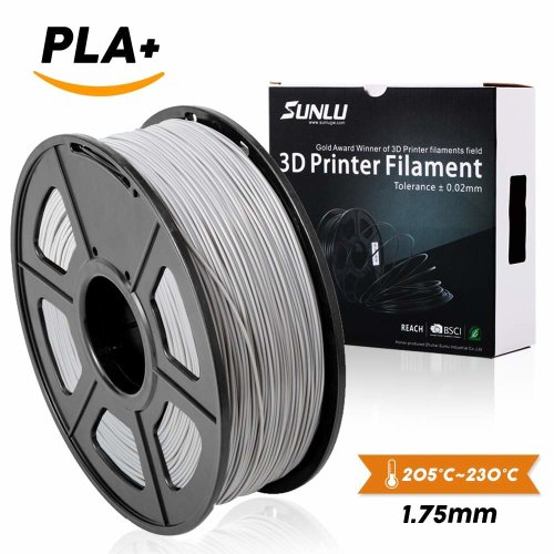 SUNLU 3D Printer Filament PLA Plus Silver, PLA Plus Filament 1.75 mm,Low Odor Dimensional Accuracy +/- 0.02 mm, 3D Printing Filament,2.2 LBS (1KG)...