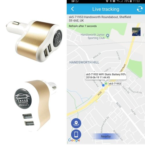 Covert Twin USB Car Charger With Built-In GPS Vehicle Tracker