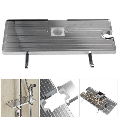 Bathroom Pole Shelf Shower Storage Rack Organiser Tray Holder Accessory UK