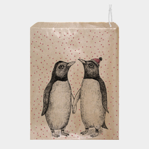 East of India Strung Paper bags Penguins x 50 Christmas Kraft Gift Bags