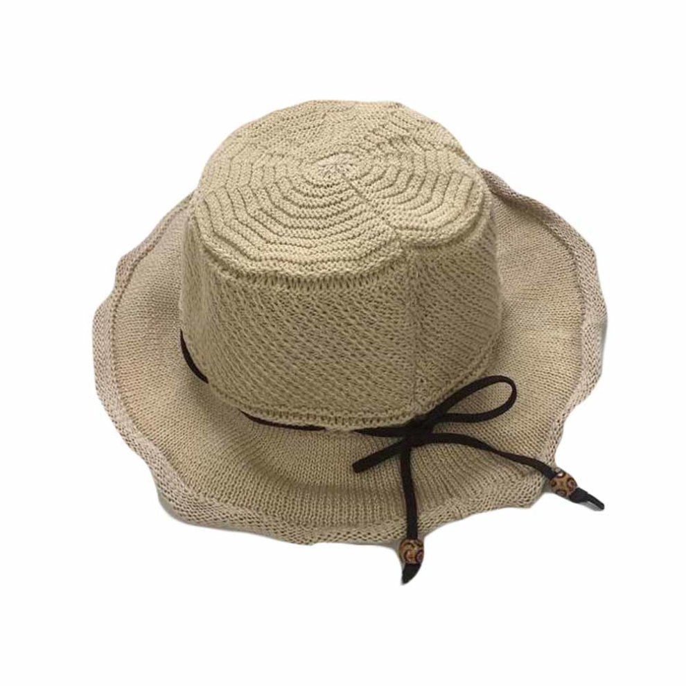 f932cfd50aa Summer Hand-woven Floppy Straw Hat Folding Retro Style Beach Cap Bucket Hat  ...