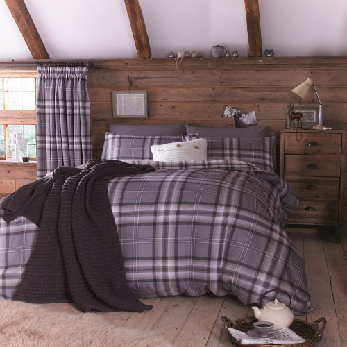 Catherine Lansfield Kelso Cotton Bed Linen Set, Double Size, Charcoal, French-Style