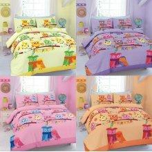 Cute Owls Floral Printed Duvet Cover Bedding Set