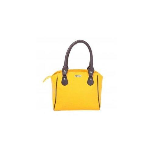 Art Fashions of Europe M-8013 BLACK 15 x 6 x 11 in. Fancy Zipper Handbags, Yellow