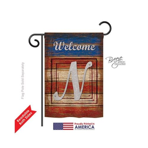 Breeze Decor 80118 Patriotic N Monogram 2-Sided Impression Garden Flag - 13 x 18.5 in.