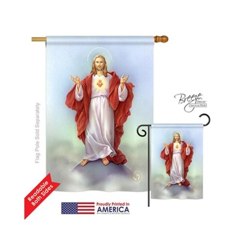 Breeze Decor 03046 Sacred Heart 2-Sided Vertical Impression House Flag - 28 x 40 in.