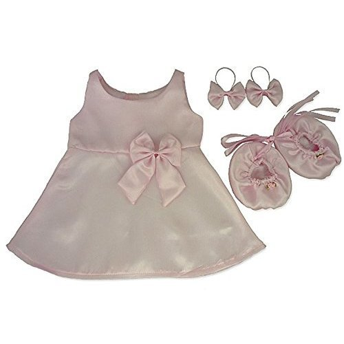 d6c88578df1 Build Your Bears Wardrobe 15-Inch Clothes Fit Build Bear Satin Dress Bows  Shoes (Pink) on OnBuy