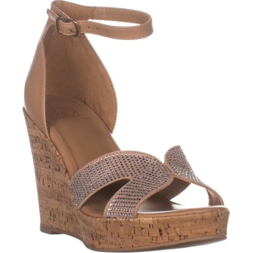 MG35 Bretta2 Wedge Ankle Strap Sandals, Nude Bling, 6 UK