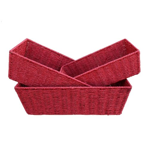 Red Paper Rope Tray Set of 3