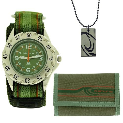 Kahuna Green Velcro Strap Watch, Wallet & Beads Necklace Boys Gift Set AKKS-002M