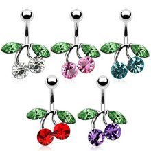 Crystal Cherry Knot with Green Crystal Leaves Rhodium Plated Belly Bar