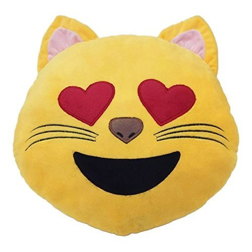 32cm Smile Emoticon Cushion Heart Eye Cat Smile Yellow Round Cushion Pillow Stuffed Plush Soft Toy