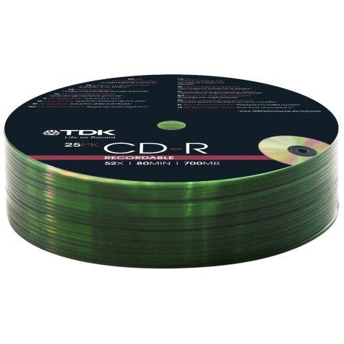 TDK 25x CD-R 700MB CD-R 700MB 25pieza (S)–CD-RW Virgin (CD-R, 700MB, 25pc (S), 120mm, 80Min, 52x)